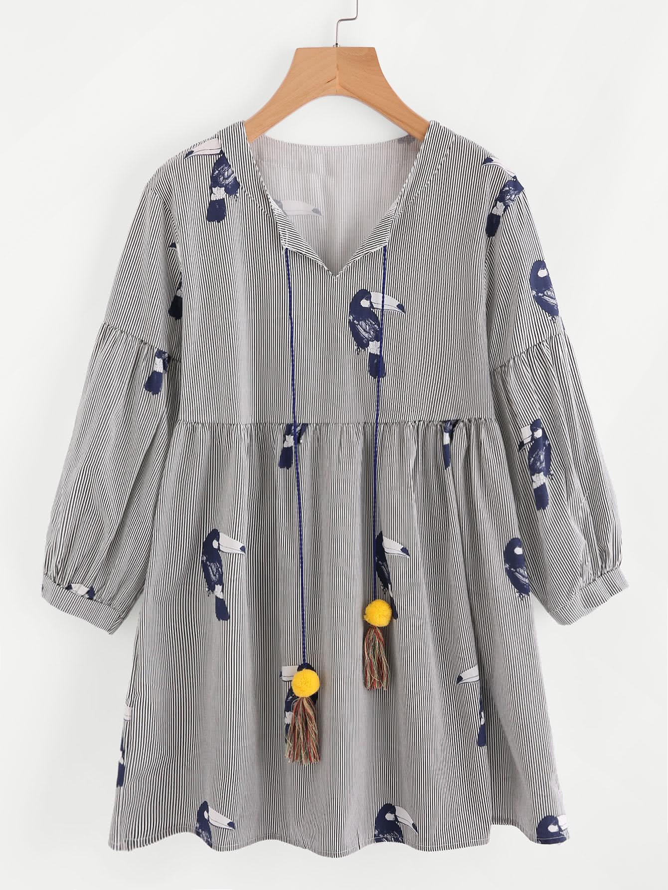 Pom Pom Tassel Tie Neck Hornbill Print Babydoll Dress thumbnail