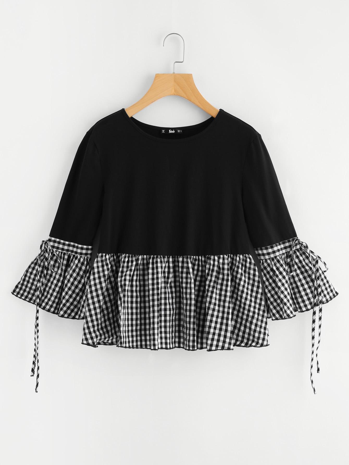 Gingham Flounce Trim Bell Sleeve Tee drop shoulder flounce trim sleeve sweatshirt