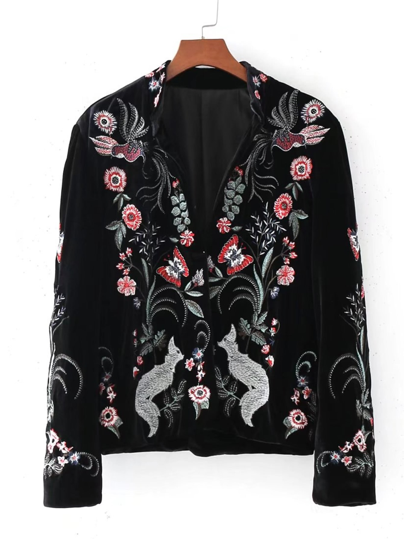 Embroidery Fox Velvet Blazer