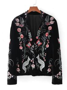 Embroidery Fox Velvet Blazer