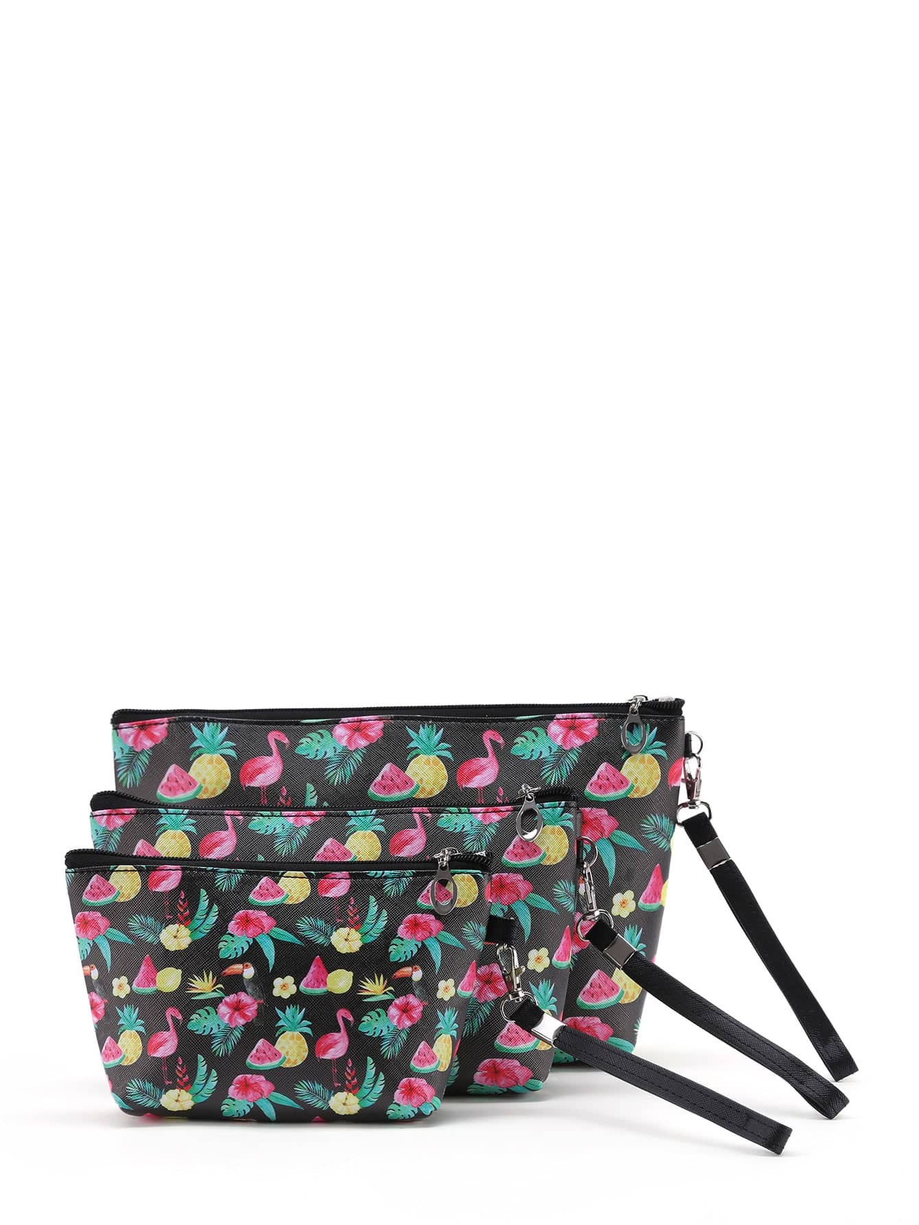 Graphic Print Pouch With Wristlet 3pcs