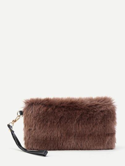 Faux Fur Design Clutch Bag