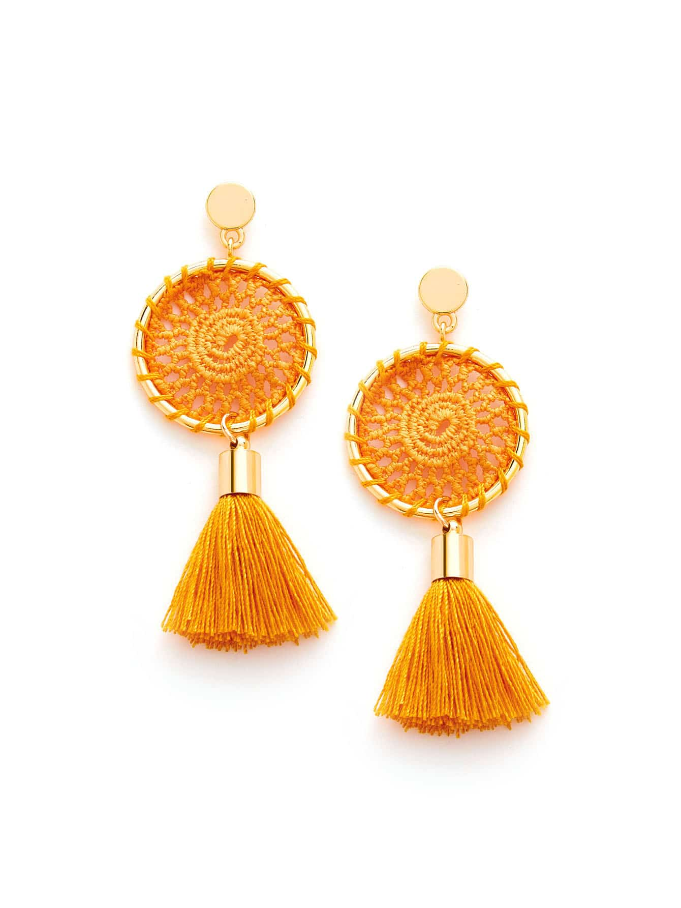 Knit Detail Tassel Drop Earrings