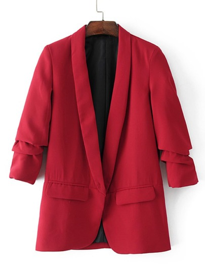 Ruched Sleeve Shawl Collar Tailored Blazer