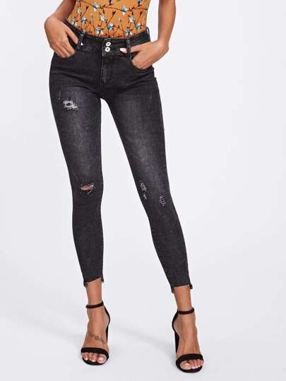 Raw Cut Skinny Ankle Jeans