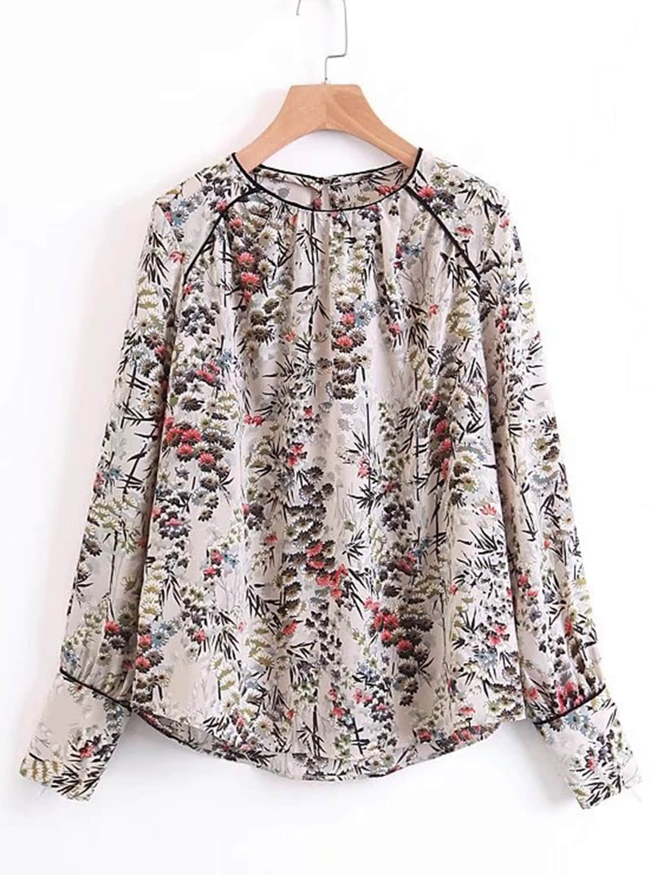 Dolphin Hem Floral Blouse ruched sleeve dolphin hem floral blouse