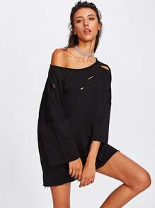 Ripped Detail Drop Shoulder Raw Trim Pullover