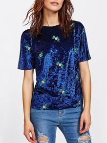 Botanical Embroidered Crushed Velvet Tee