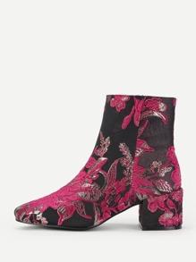 Jacquard Block Heeled Boots