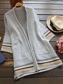 Tribal Pattern Open Front Longline Cardigan