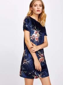 Flower Print Velvet Tee Dress