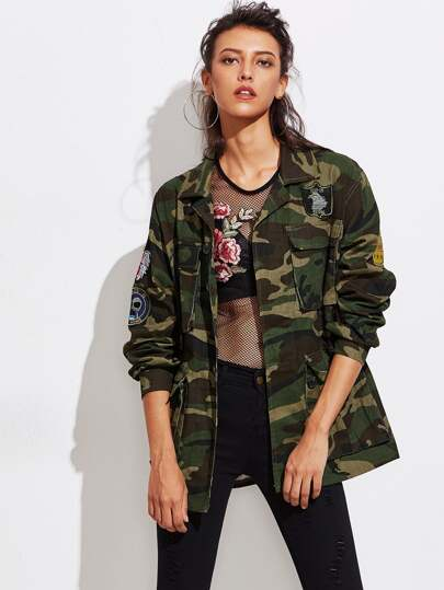 Camo Military Jacket With Embroidered Badges
