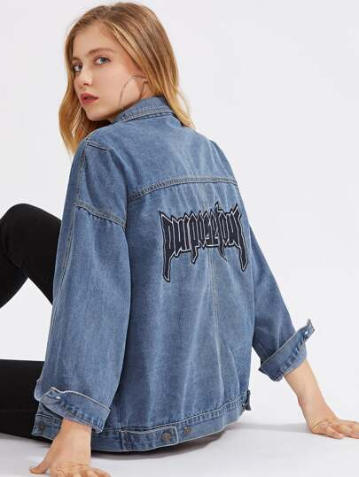 Letter Embroidered Boyfriend Denim Jacket