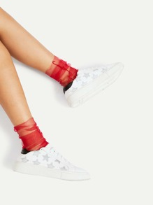 Seam Side Mesh Ankle Socks