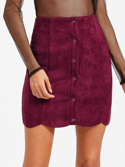Suede Single Breasted Scallop Hem Skirt