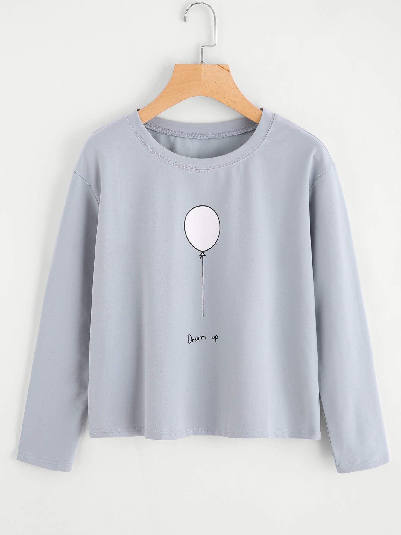 Balloon Print T-shirt rtsh170921020