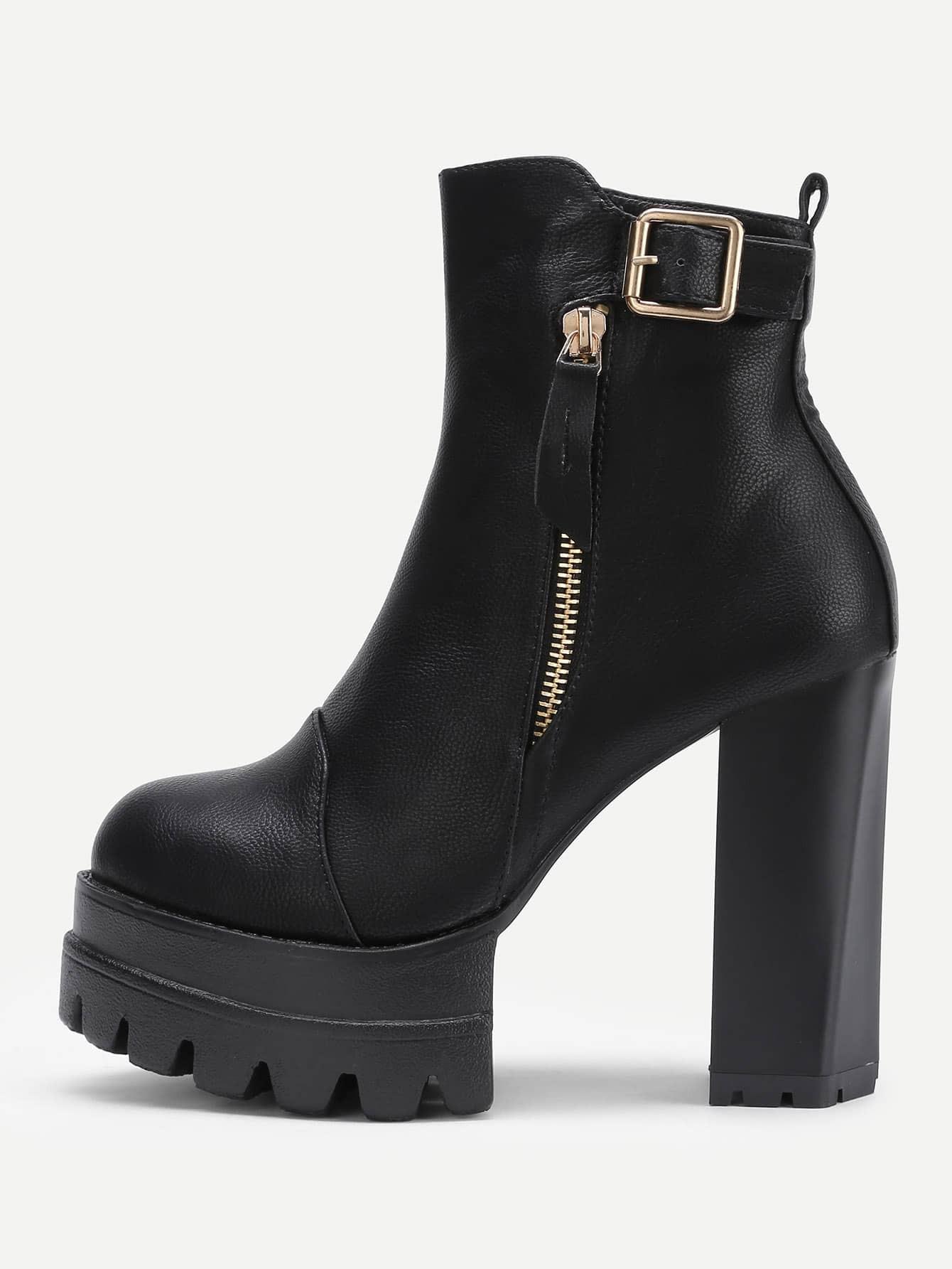 side zipper platform pu ankle boots shein sheinside