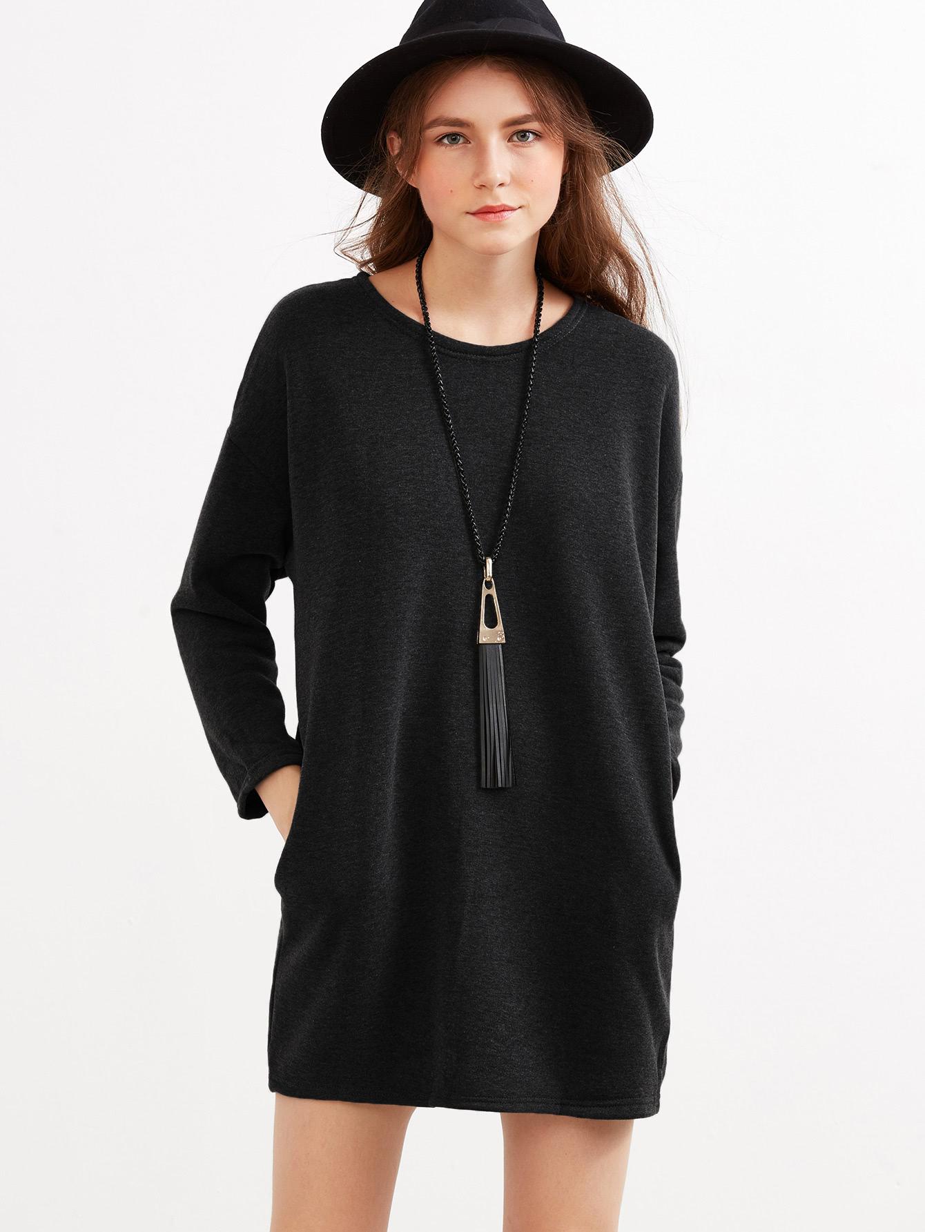 Drop Shoulder Marled Knit Dress drop shoulder marled sweatshirt dress with corset belt