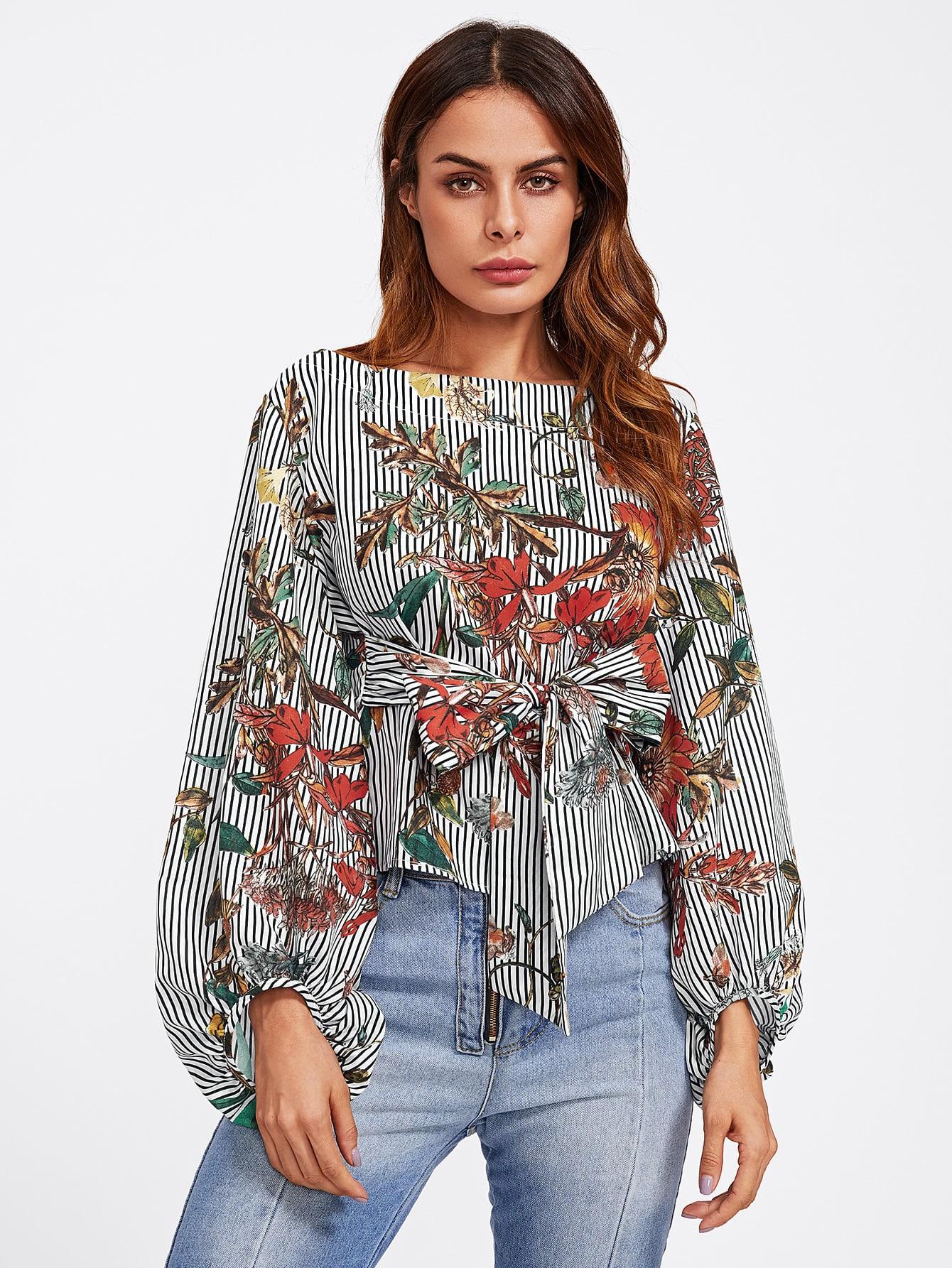 Купить Модная блуза с принтом и поясом, рукав-фонарик, Andy, SheIn