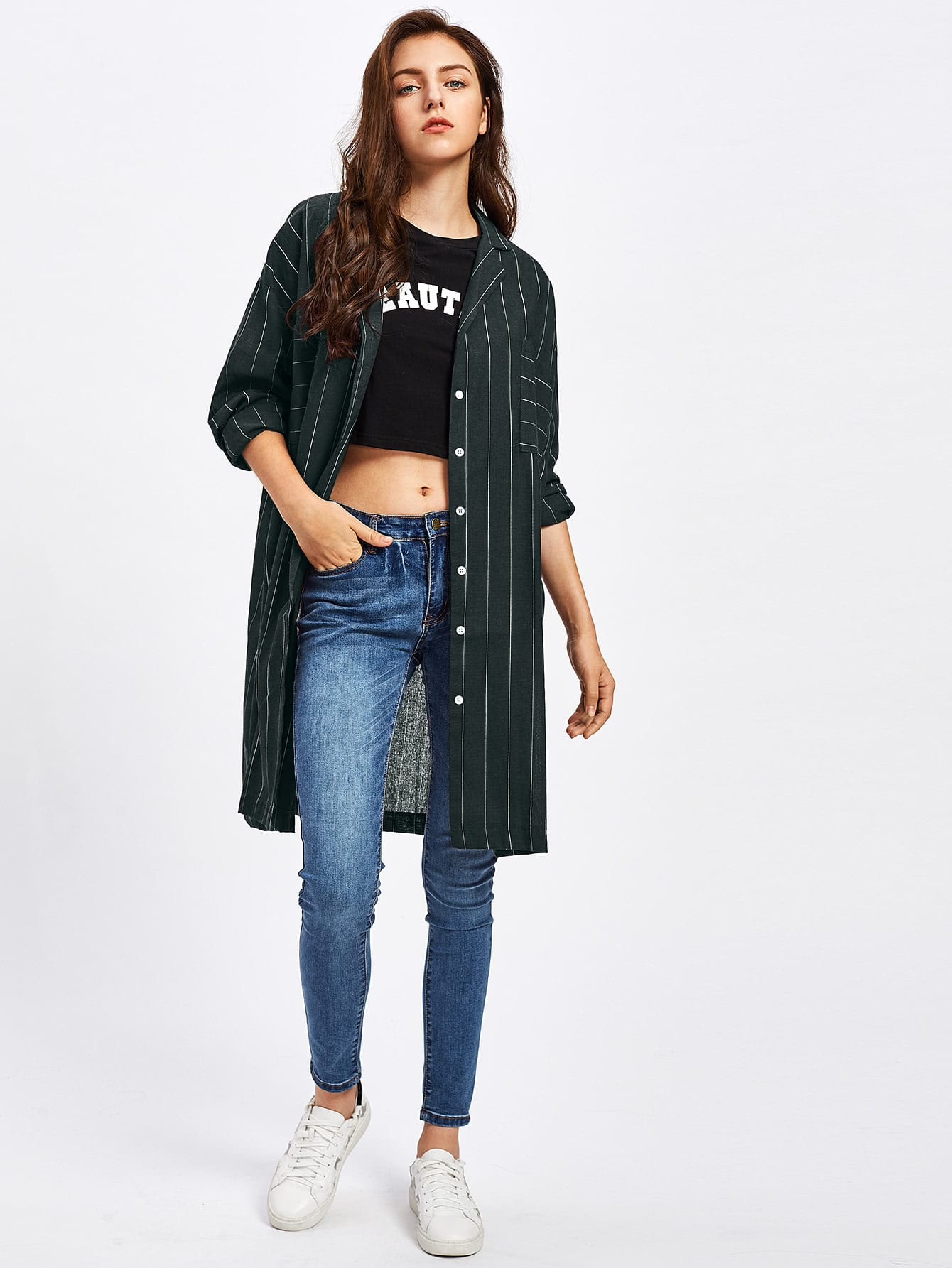 Pinstripe Drop Shoulder Shirt two tone drop shoulder sweatshirt