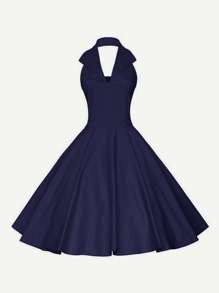Plunging Sailor Nautical Circle Dress