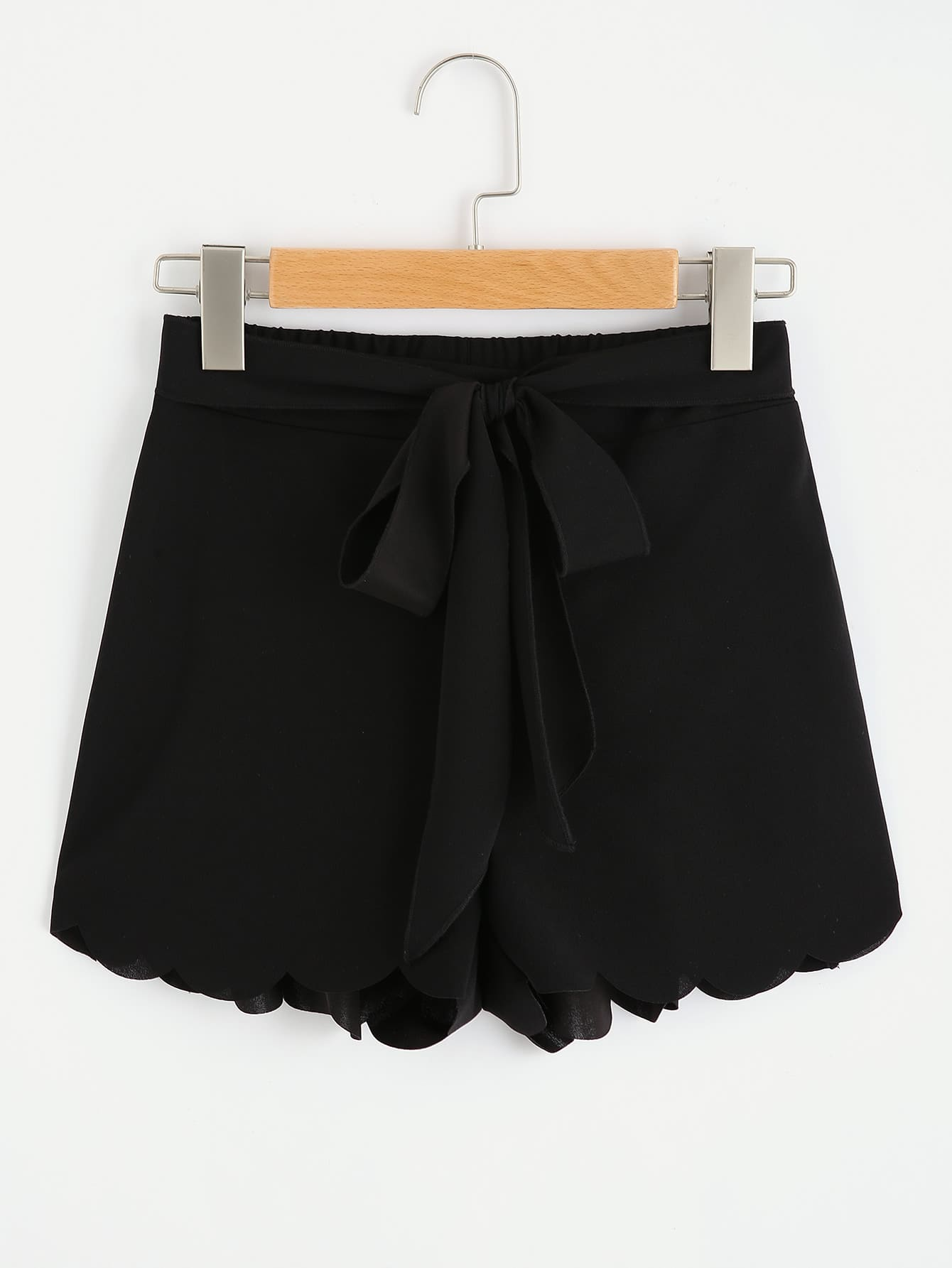 Tie Waist Scallop Edge Shorts броши selena броши page 6