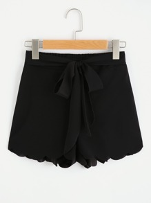Tie Waist Scallop Edge Shorts