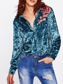 Embroidered Flower Applique Crushed Velvet Blouse