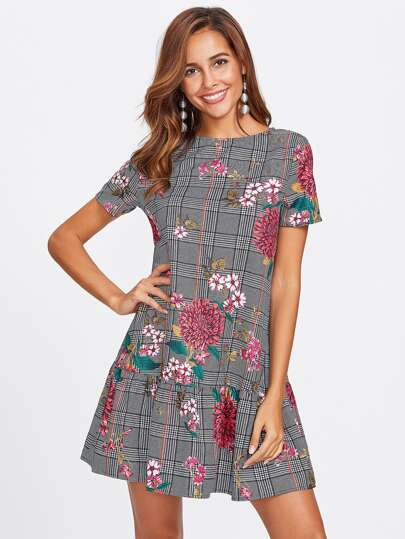 Flower Print Plaid Smock Dress