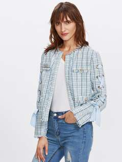 Grommet Lace Up Sleeve Frayed Tweed Blazer