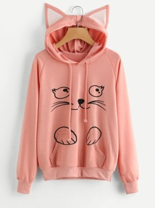 Contrast Cat Ear Cartoon Print Hoodie
