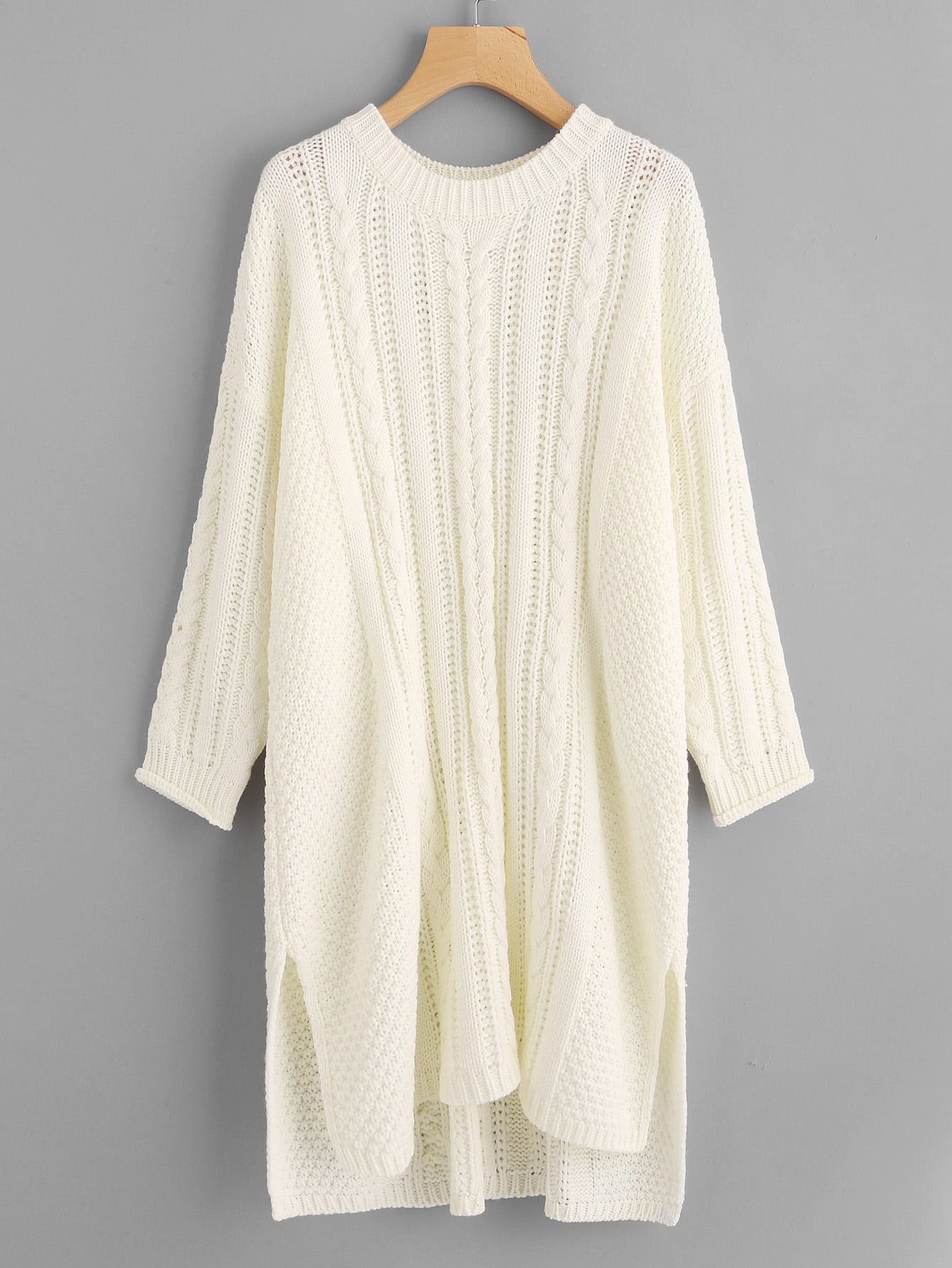Cable Knit Split Dip Hem Longline Sweater colorblock cable knit sweater