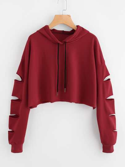 Cut Out Sleeve Raw Hem Crop Hoodie