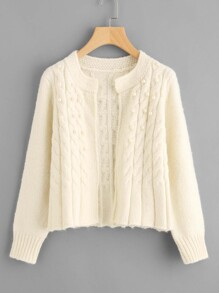 Pearl Beading Open Front Sweater Coat