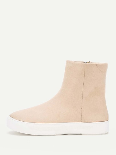 Side Zipper Flatform Boots