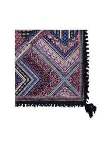Bufanda estampada con ribete de flecos