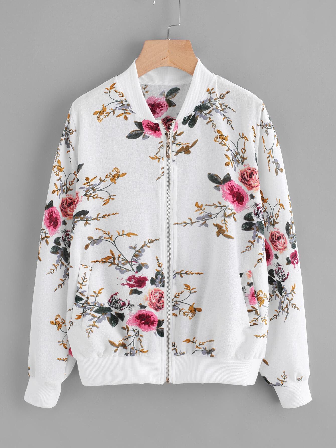 Ribbed Trim Botanical Print Jacket contrast ribbed trim jacket