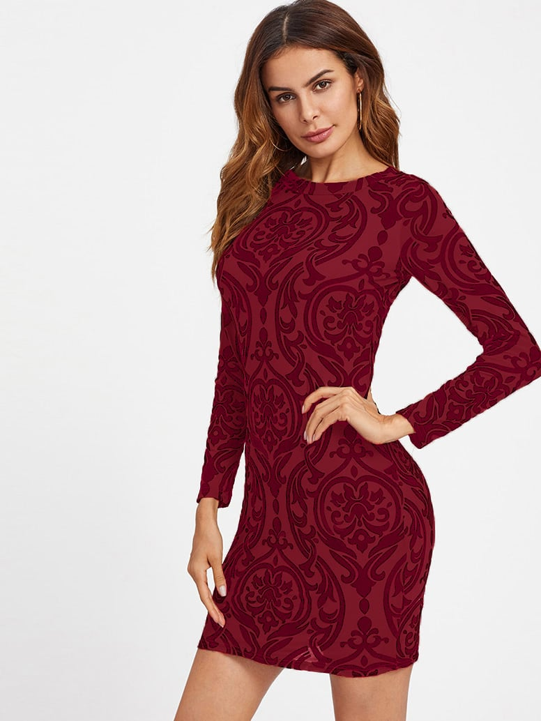 Open Back Paisley Print Fit Dress zip back fit and flared plaid dress