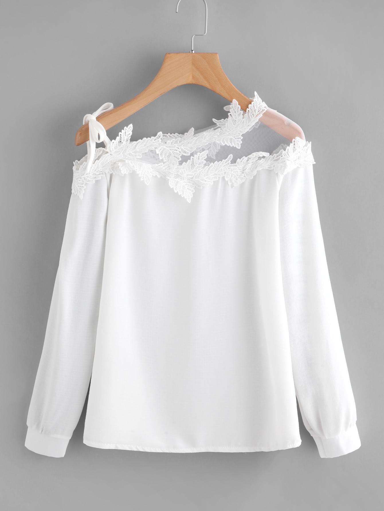 Mesh Panel Crochet Appliques Asymmetric Cold Shoulder Blouse white cold shoulder asymmetricalâblouse