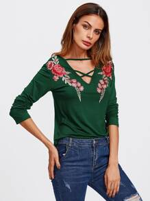 Rose Embroidered Patch Strappy Neck Tee