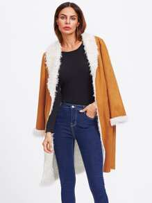 Shawl Collar Faux Shearling Coat