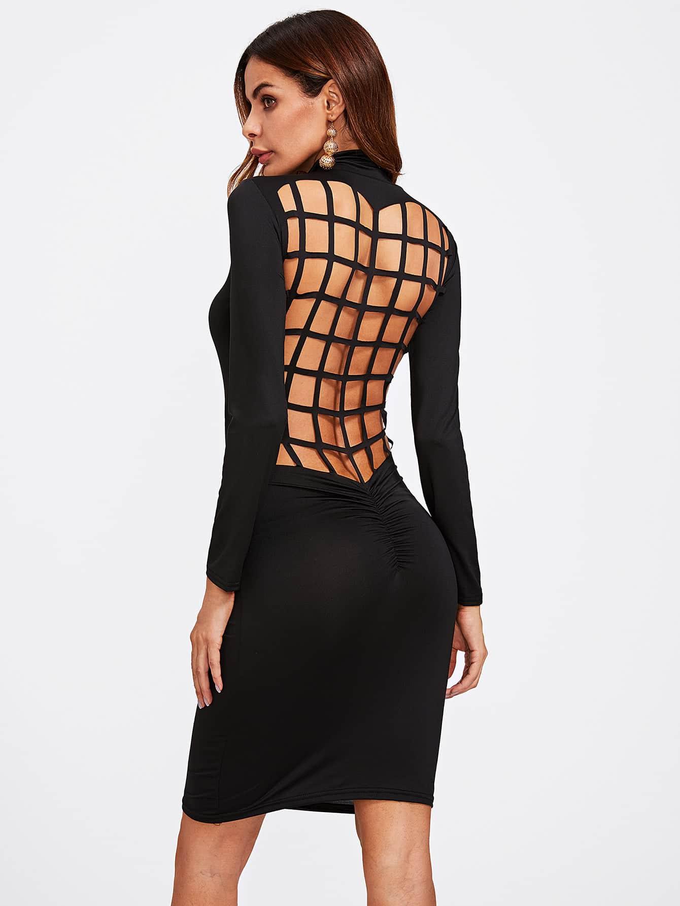 Laser Cut Back Shirred Detail Dress laser cut detail ruffle cuff dress