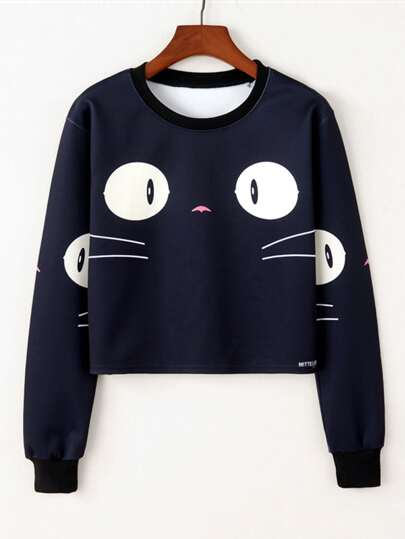 Cartoon Print Crop Sweatshirt