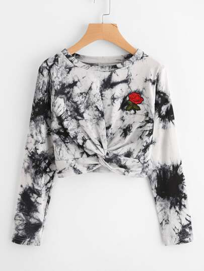 Rose Embroidered Patch Water Color Twist Sweatshirt
