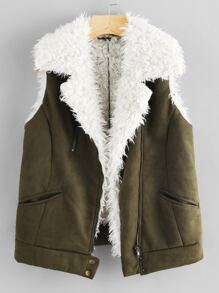 Zip Up Faux Shearling Vest