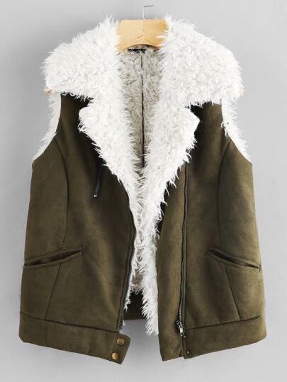 Zip Up Faux Shearling Vest