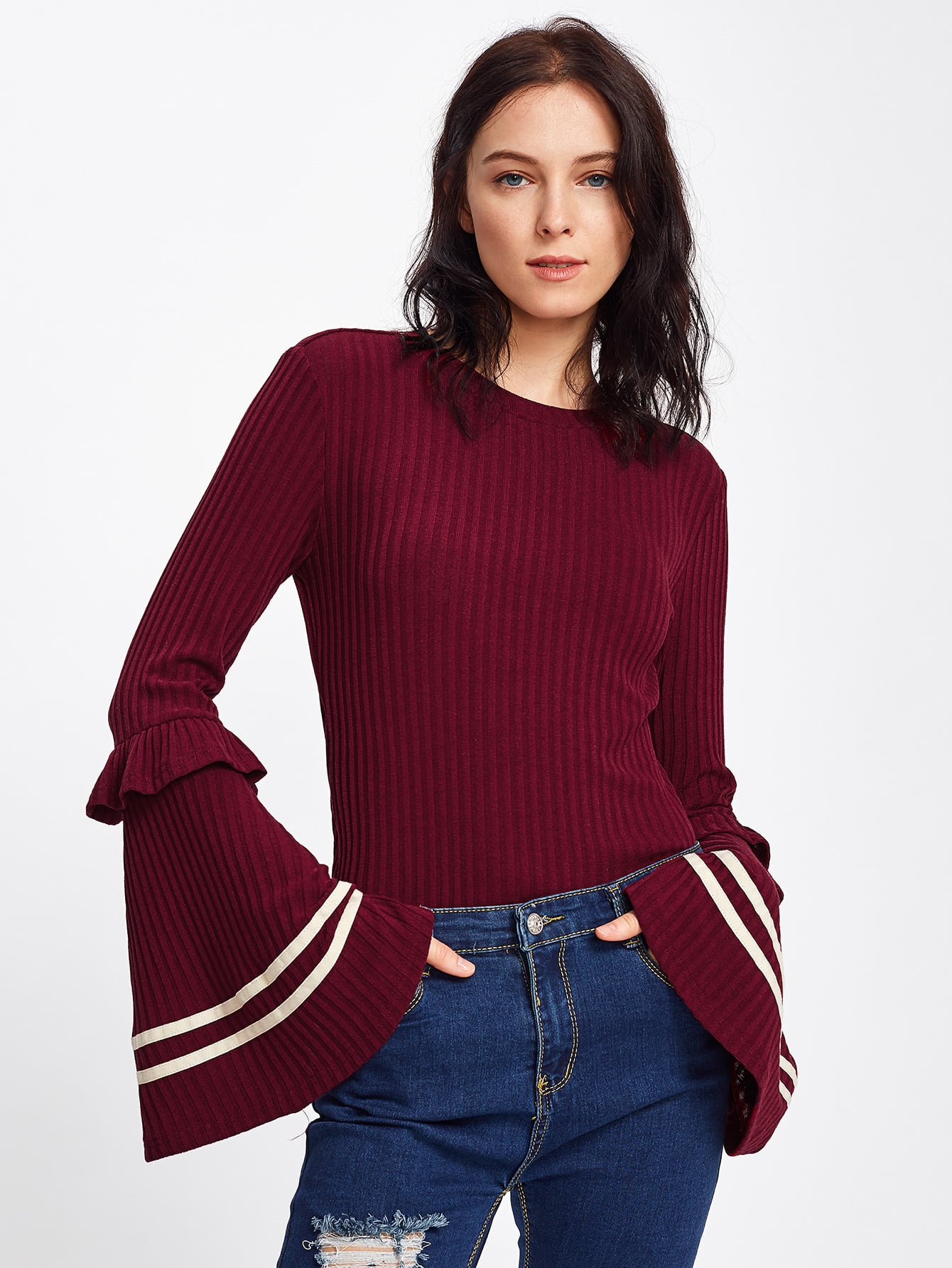 Frilled Striped Trumpet Sleeve Ribbed Tee tee170918450