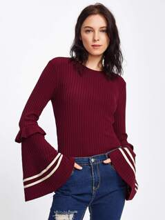 Frilled Striped Trumpet Sleeve Ribbed Tee