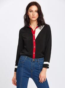 Color Block Cut And Sew Shirt