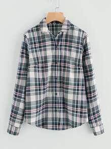 Curved Hem Button Up Checker Shirt